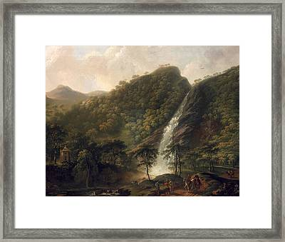 View Of Powerscourt Waterfall Framed Print by George the Elder Barret