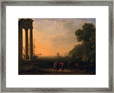 View Of Seaport Framed Print by Claude Lorrain