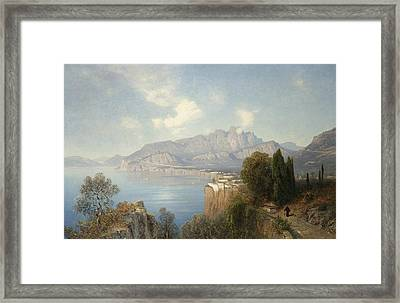 View Of Sorrento Framed Print by Oswald Achenbach