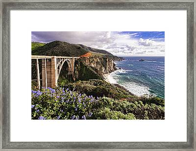 View Of The Bixby Creek Bridge Big Sur California Framed Print by George Oze