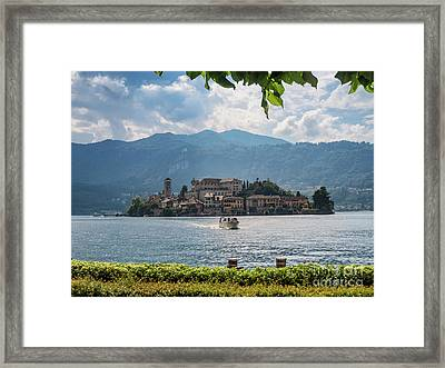 View Of The Island Of San Giulio In Lake Orta Italy Framed Print by Frank Bach