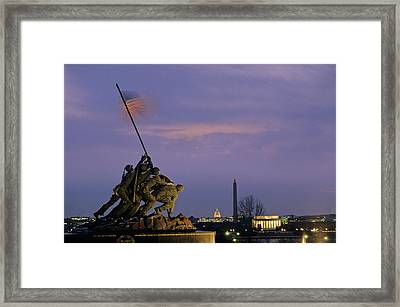 View Of The Iwo Jima Monument Framed Print by Kenneth Garrett
