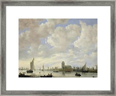 View Of The Merwede At Dordrecht Framed Print by Jeronimus van Diest