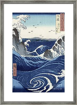 View Of The Naruto Whirlpools At Awa Framed Print by Hiroshige