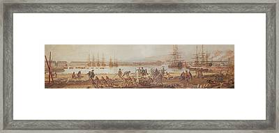 View Of The New Port Of Toulon Framed Print by Michel de Toulon