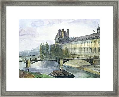 View Of The Pavillon De Flore Of The Louvre Framed Print by Francois-Marius Granet