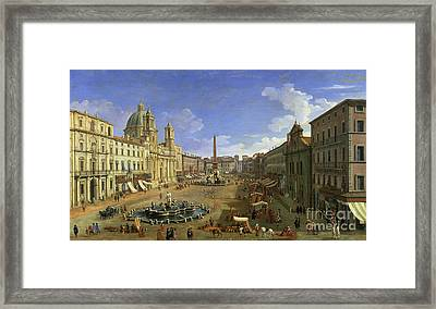 View Of The Piazza Navona Framed Print by Canaletto