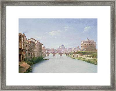 View Of The Ponte And Castel Sant'angelo In Rome Framed Print by Christoffer-Wilhelm Eckersberg