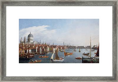 View Of The River Thames With St Paul's And Old London Bridge   Framed Print by William James