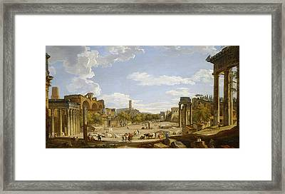 View Of The Roman Forum Framed Print by Giovanni Paolo Panini