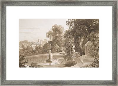 View Of The Temple Of Suryah And The Fountain Of Mahah Doo Framed Print by John Martin