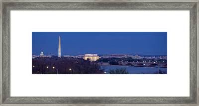 View Of Washington Dc At Dusk Framed Print by Panoramic Images
