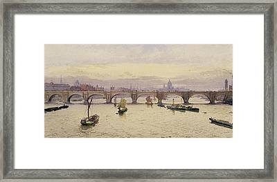 View Of Waterloo Bridge From Hungerford Bridge Framed Print by John Crowther