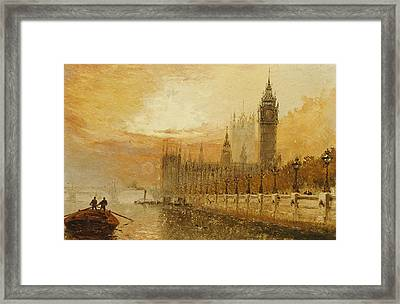 View Of Westminster From The Thames Framed Print by Claude T Stanfield Moore