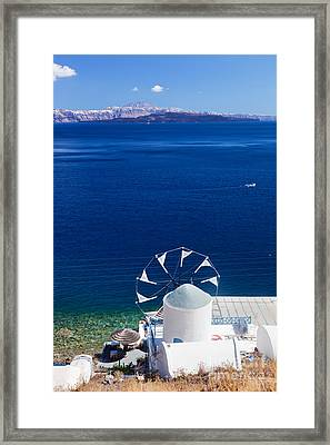 View On Windmill And Aegean Sea From Therasia Island Framed Print by Michal Bednarek