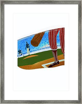 View Over Home Plate In Baseball Stadium Framed Print by Gillham Studios
