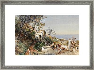 View Over The Bay Of Naples Framed Print by Oswald Achenbach