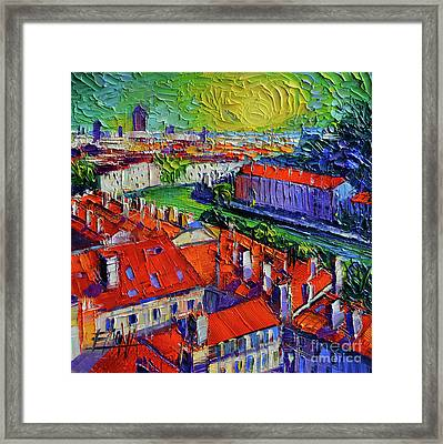 View Over The City Of Lyon France Framed Print by Mona Edulesco