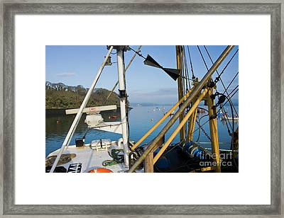 View Through A Mylor Trawler Framed Print by Terri Waters