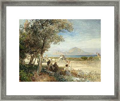 Views Of The Gulf Of Naples Framed Print by Oswald Achenbach