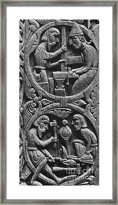 Viking Blacksmiths Forge The Sword Framed Print by Photo Researchers