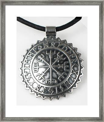 Viking Celtic Vegvisir Compass With Rune Calendar  - Sterling Silver Key Ring Or Pendant Framed Print by Vagabond Folk Art - Virginia Vivier