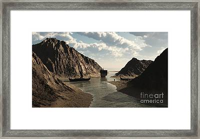 Viking Longships In An Icelandic Inlet Framed Print by Fairy Fantasies