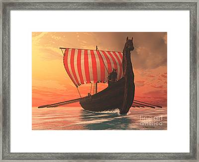 Viking Man And Longship Framed Print by Corey Ford