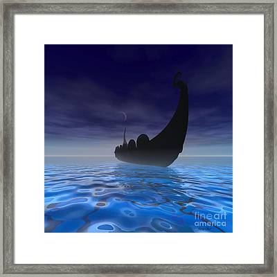 Viking Ship Framed Print by Corey Ford