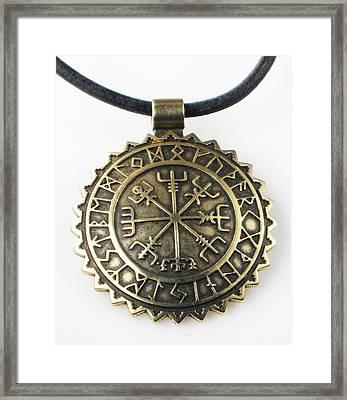 Viking Vegvisir Compass With Rune Calendar - Bronze Pendant Framed Print by Vagabond Folk Art - Virginia Vivier