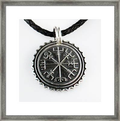 Viking Vegvisir Nautical Compass Protection Sterling Silver Pendant - Necklace - Keyring  Framed Print by Vagabond Folk Art - Virginia Vivier