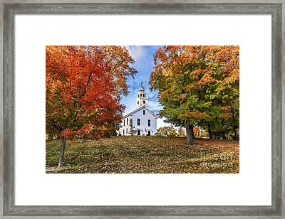 Village Green And Church Framed Print by John Greim