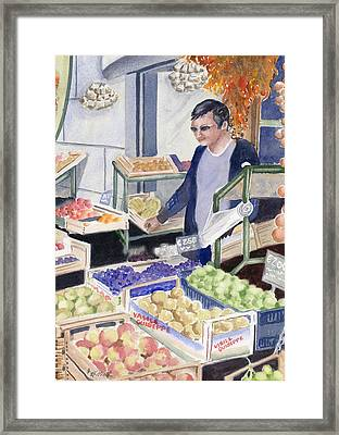 Village Grocer Framed Print by Marsha Elliott
