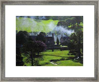 Village In North Wales Framed Print by Harry Robertson