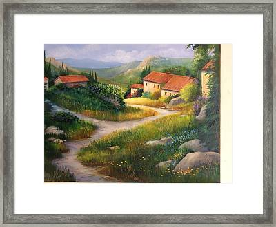 Village Path, Provence France Framed Print by Barbara Davies
