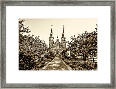 Villanova Cathedral In Sepia Framed Print by Bill Cannon
