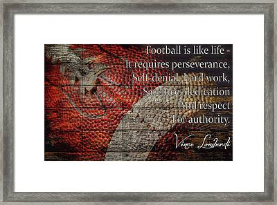 Vince Lombardi Football Quote Barn Door Framed Print by Dan Sproul