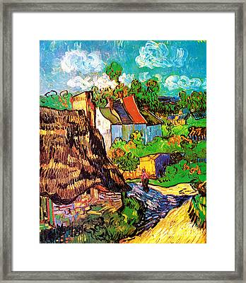 Vincent Van Gogh Houses At Auvers  Framed Print by Pg Reproductions