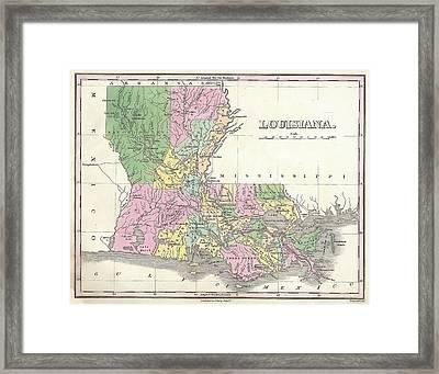 Vintage 1827 Louisiana Map Framed Print by Stephen Stookey