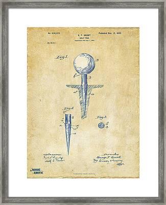 Vintage 1899 Golf Tee Patent Artwork Framed Print by Nikki Marie Smith