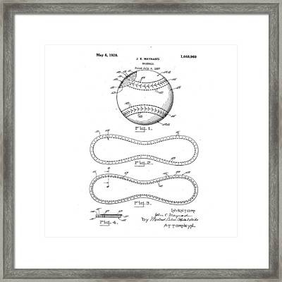 Vintage 1928 Baseball Patent Framed Print by Bill Cannon