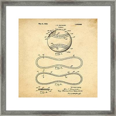 Vintage 1928 Baseball Patent In Sepia Framed Print by Bill Cannon
