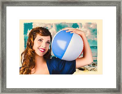 Vintage 1950 Era Pin-up Woman With Beach Ball Framed Print by Jorgo Photography - Wall Art Gallery