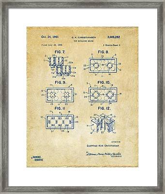 Vintage 1961 Lego Brick Patent Art Framed Print by Nikki Marie Smith