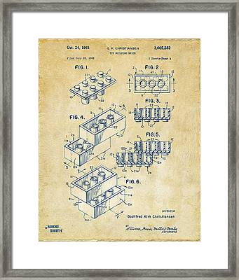 Vintage 1961 Toy Building Brick Patent Art Framed Print by Nikki Marie Smith