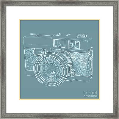 Vintage 35mm Film Camera Blue Pop Art Framed Print by Edward Fielding