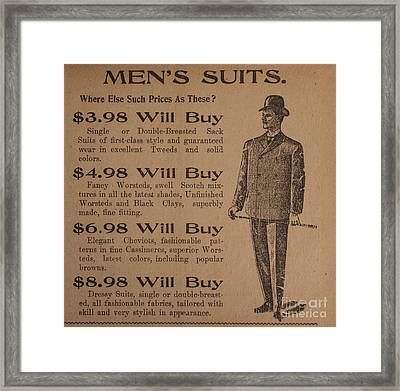 Vintage Ad For Men's Suits Framed Print by Edward Fielding