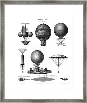 Vintage Aeronautics - Early Balloon Designs Framed Print by War Is Hell Store
