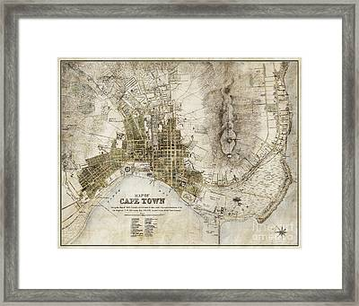 Vintage Antique Cape Town South Africa City Map Framed Print by ELITE IMAGE photography By Chad McDermott