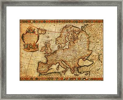 Vintage Antique Map Of Europe French Origin Circa 1700 On Worn Distressed Parchment Canvas Framed Print by Design Turnpike